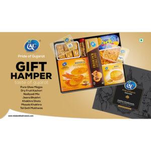 Induben Khakhrawala Gift Hamper: Pure Ghee Magas, Dry Fruit Kachori, Nadiyadi Mix, Jeera Bhakhri, Khakhra Shots, Masala Khakhra, Tal Gotli Mukhwas